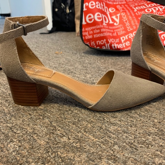 Really lightly worn grey small heels